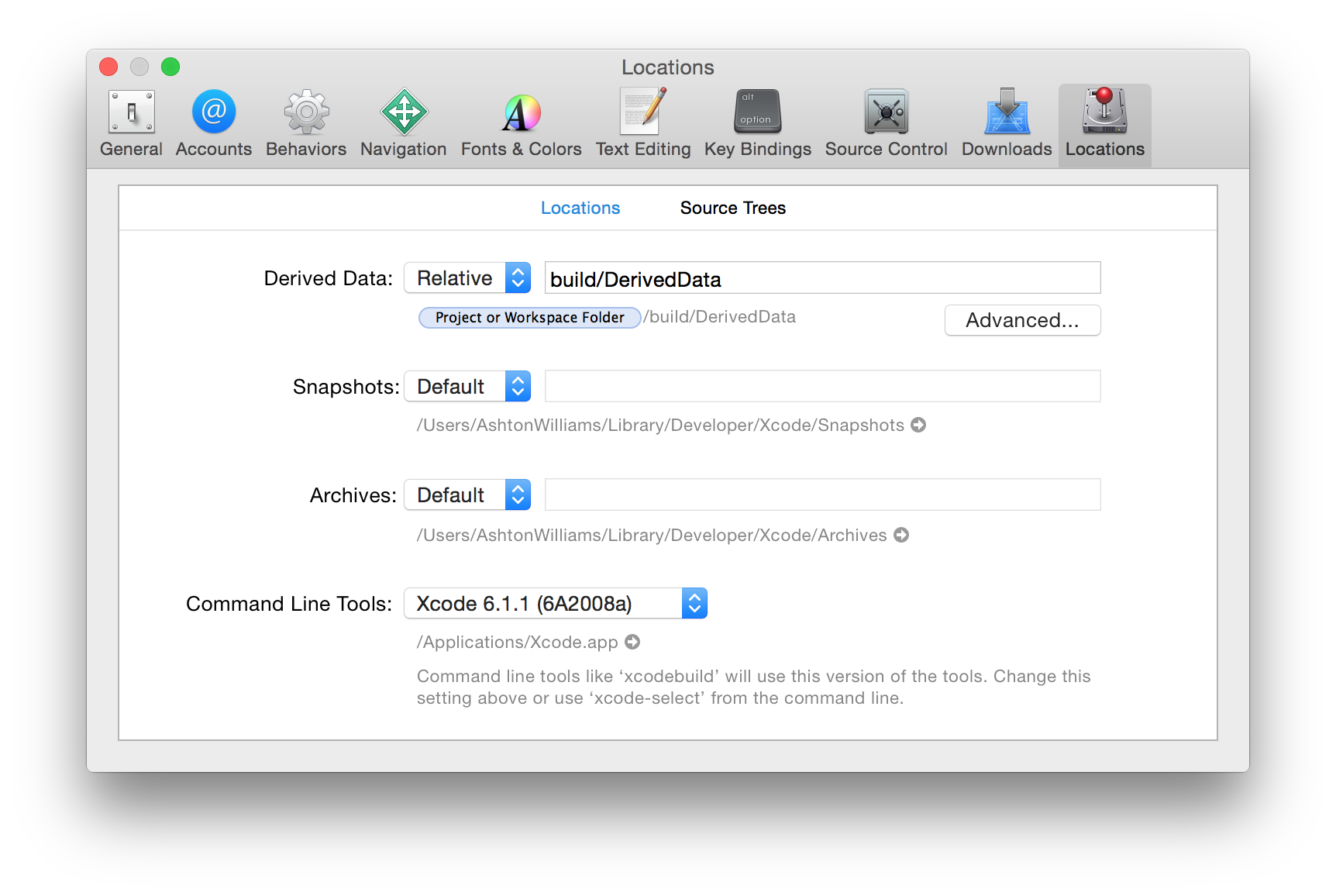 Xcode Preferences Window Locations